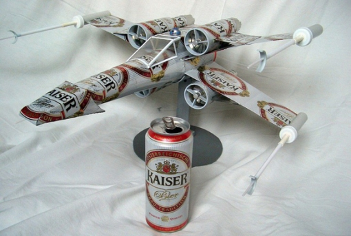 X-Wing fighter made from recycled Kaiser beer